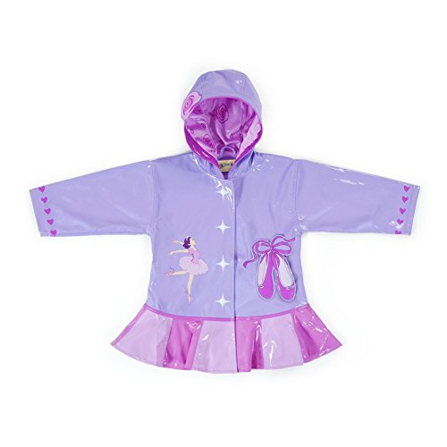 Kidorable Little Girls Lilac Pink Ballerina Heart Hooded Rain Coat