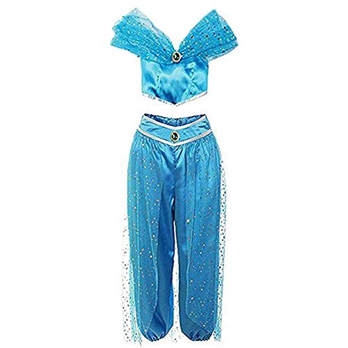 RUEWEY Womens Jasmine Princess Cosplay Belly Dance Dress Up Anime Lamp Costumes Party Adventure Outfit (2XL, Blue) ()