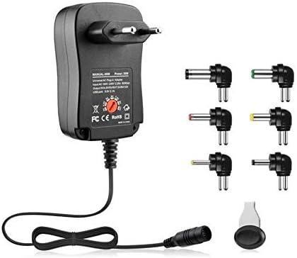 Prise UE Noire 3-12V 30W 2.1A AC//DC Adaptateur dalimentation Adaptateur de Chargeur Universel avec 6 fiches Adaptateur dalimentation /à Tension r/égul/ée r/églable