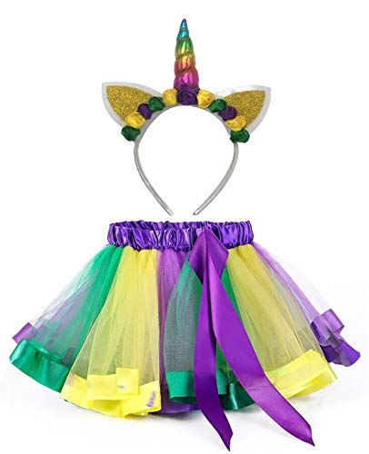 KASTE Tutu Skirt Layered Ballet Tulle Little Girls Dress up Colorful Hair Headband for Mardi Gras (3-7years) -