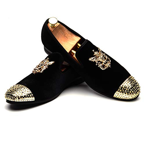 MEIJIANA Mens Loafers Velvet Dress Shoes with Gold Plate Smoking Slippers Slip on Penny Party Luxury Loafer Shoes for Men from MEIJIANA
