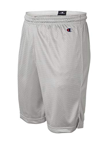 (Champion Men's Full Athletic Fit Mesh Shorts, athletic gray,)