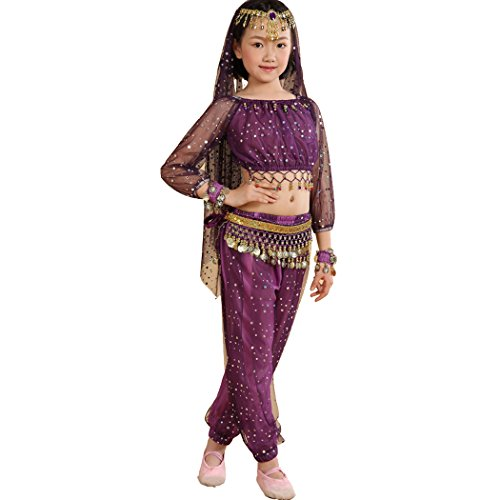 Astage Girl`S Belly Dance Costumes,Long sleeve Highlights Top ,Pants Purple L(Fits 52in-57in) (Girls Costumes)
