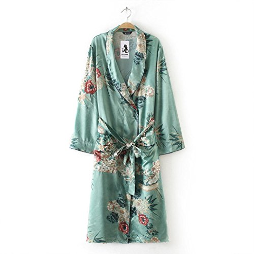 UBuyit Women's Fashion Plus Size Floral Print Lapel Pocket Long Kimono Shirt Cardigan Shawl Tops with Belt (Green, 3XL)