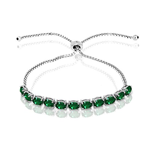 GemStar USA Sterling Silver Simulated Emerald 6x4mm Oval-Cut Adjustable Tennis Bracelet