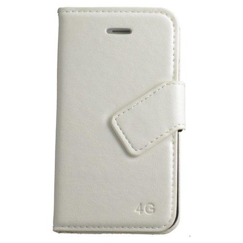N17 Weiss Handytasche im Bookstyle für Apple iPhone 4 4G 4S Schutzhülle Schutzschale Schale Bumper Tasche Etui Case Hülle White