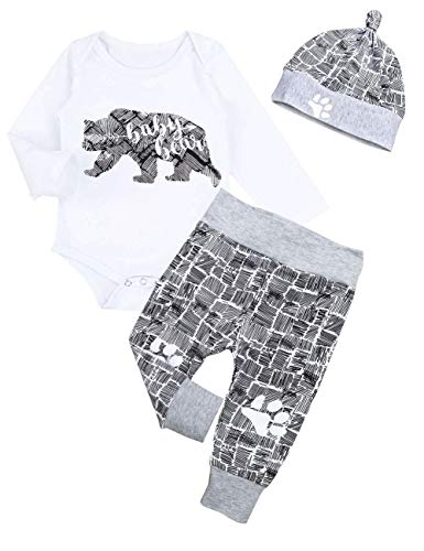 Newborn Baby Boy Clothes New to The Crew Letter Print Romper Long Pants Hat 3PCS Outfits Set Breathable and Soft (A-Blue, 0-3 Months)