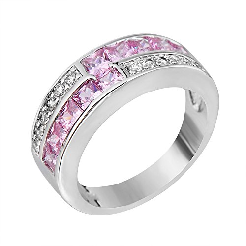 (Rongxing Jewelry Ring Pink Sapphire Zircon Band Women's White Gold Filled Size 10)