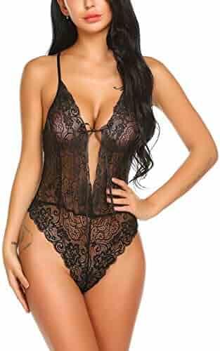 57713883431 ELOVER Women Teddy Lingerie One Piece Babydoll Lace Teddy Lingerie Mini  Bodysuit