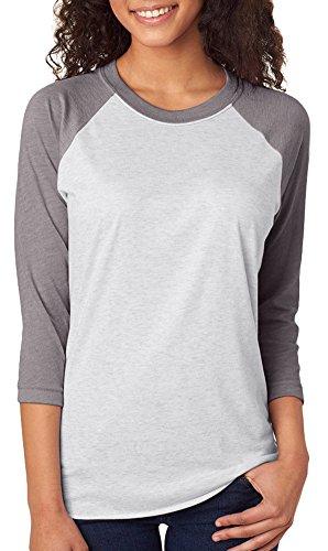 - Next Level Unisex 3/4-Sleeve Raglan T-Shirt, Premium HTHR/HTHR Wht, Large
