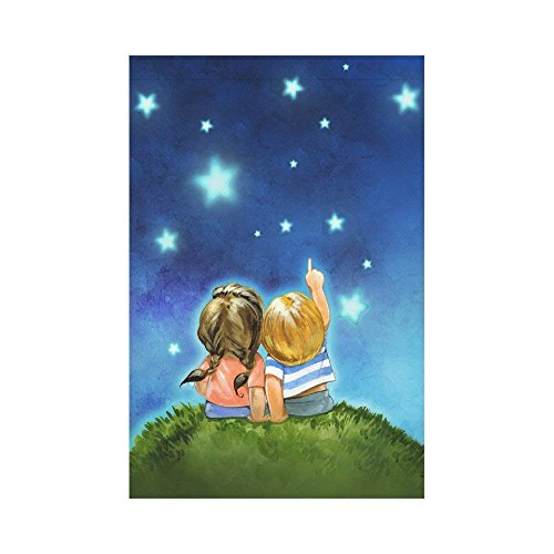 Child Star Signed - Boy and Girl Stars Satrry Sky Polyester Garden Flag House Banner Decorative Flag for Party Yard Home Outdoor Decor