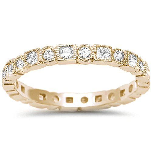 Sterling Silver Yellow Gold Plated Antique Style Bezel Set Eternity Stackable Ring Sizes 8 (Bezel Prong 4)