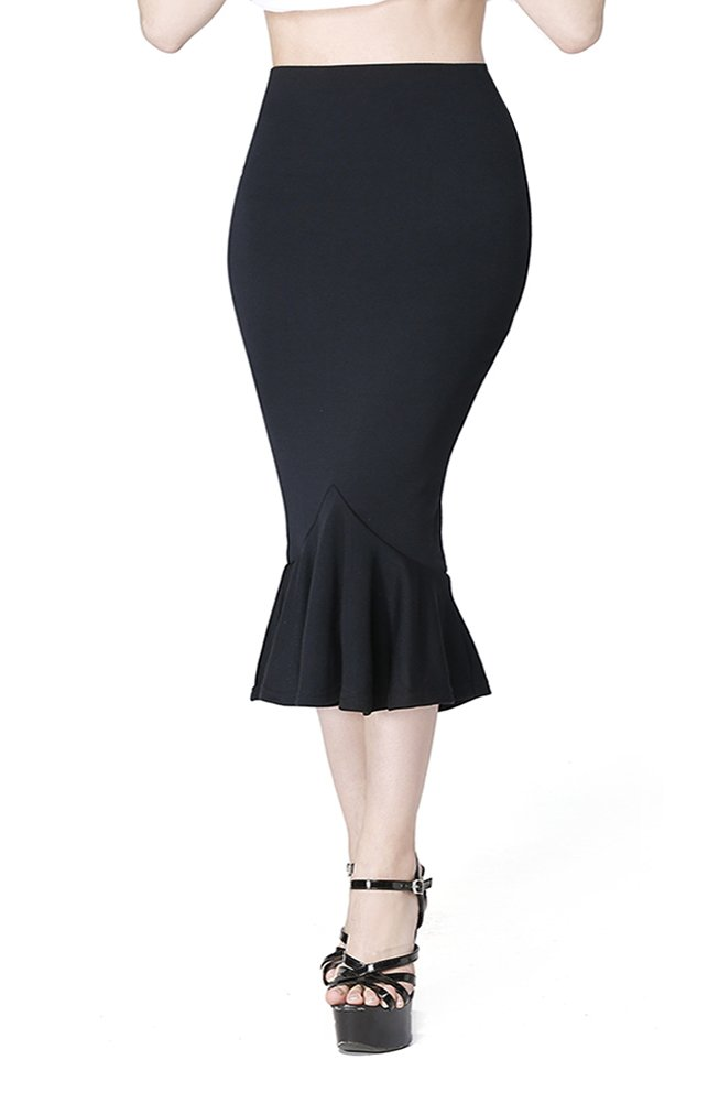 Darshion Women's Vintage Fitted Casual Business Pencil Fishtail Skirt (XL, Black)