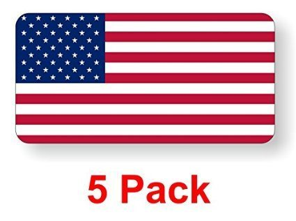 "American Flag Old Glory (5 PACK) vinyl Hard Hat Helmet decal - size: 2"" x 1"" - Hard Hat, Helmet, Windows, Walls, Bumpers, Laptop, Lockers, etc."