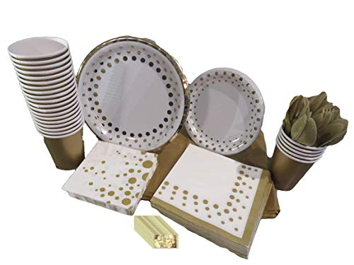 Golden Polka Dots Gold Party Supplies Disposable Dinnerware Set for 16 Guests Includes Plates, Knives, Spoons, Forks…