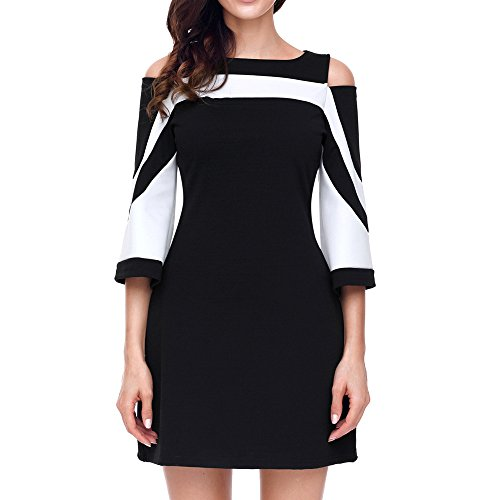 HGWXX7 Women Summer Dress Casual Bodycon Splice Strapless Speaker Sleeve Evening Party Mini Dress Skirt (S, Black) from HGWXX7