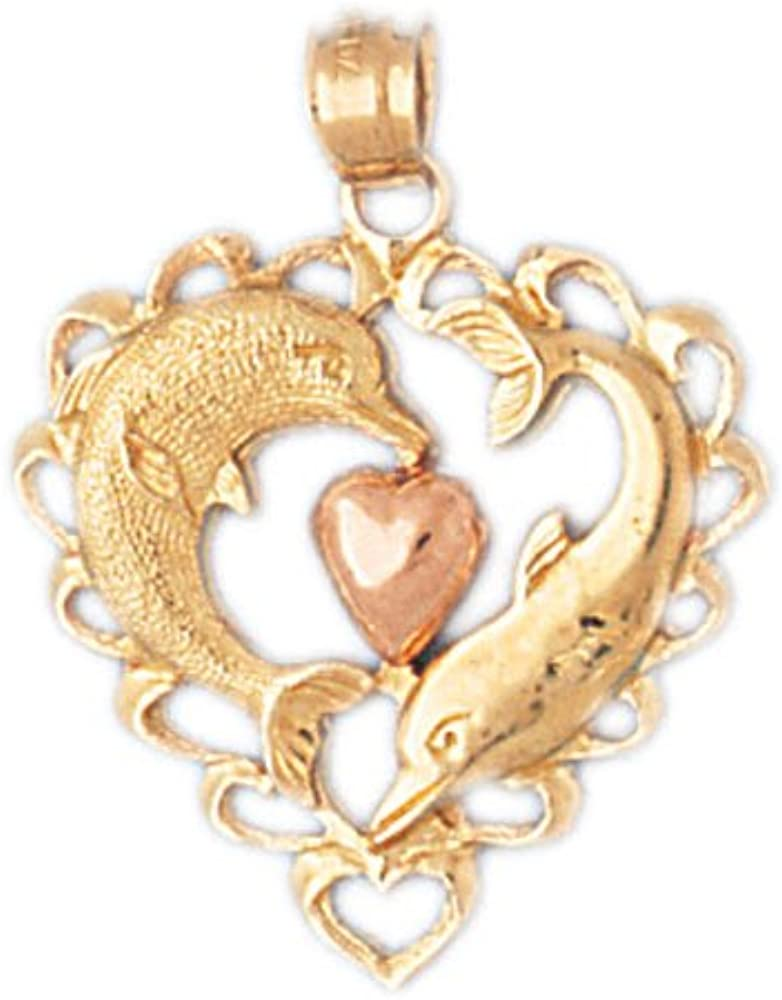 14k Two-Tone Gold Dolphin Heart Pendant