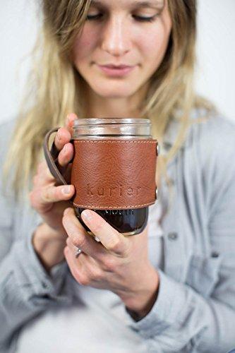 TAN Kurier removable full grain Leather Camp Mug / glass mason ball canning jar mug travel coffee cup with handle handmade in USA 16 oz. glass jar included. Great gift!