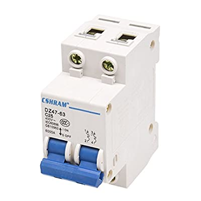 SODIAL(R) DZ47-63 C25 25 Amp 230/400VAC 6000A Breaking Capacity 2 Poles Circuit Breaker