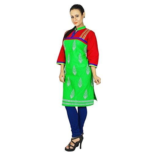 Bollywood Kurta Mujeres étnico Kurti diseñador indio de algodón tapa del vestido de la túnica Verde