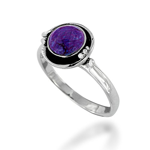 925 Oxidized Sterling Silver Purple Turquoise Gemstone Round Ring, Size 7