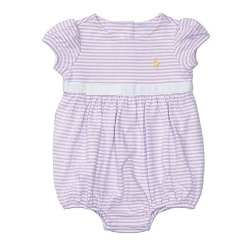 Ralph Lauren Baby Girls Striped Cotton Jersey Shortall (18 Months, Pale (Ralph Lauren Striped Romper)