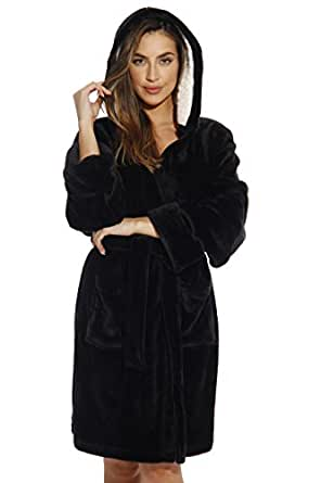 c616342d05 Just Love Hooded Velour Robe for Women with Sherpa Lined Hood at ...