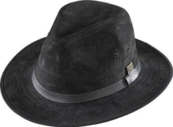 Henschel Hats Safari GENUINE LEATHER Lined Fedora Hat (Small, Black)