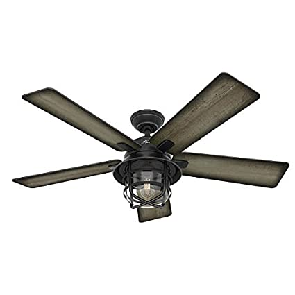 Hunter 54 coral gables reversible burnished gray pine blades remote hunter 54quot coral gables reversible burnished gray pine blades remote controlled ceiling fan in weathered aloadofball