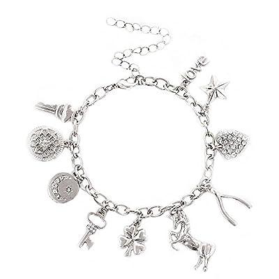 ALEXY Women's Link Charm Bracelet Unicorn Clover Star Heart Pendant Charms Bracelet Bangles for Girls
