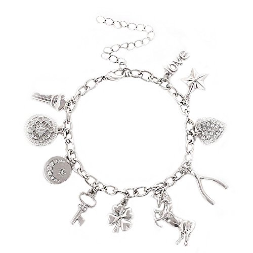 Charm Animal Bracelet - ALEXY Women's Charm Bracelet Polished Unicorn Star Clover Drops Rhinestone Paved Heart Pendant Bangle Bracelets (Silver)