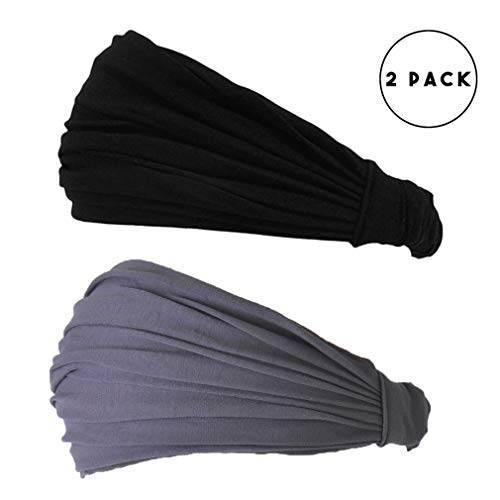 (CHARM Black & Dark Gray Japanese Bandana - 2-Pack Headbands for Men and Women Snug Fit)