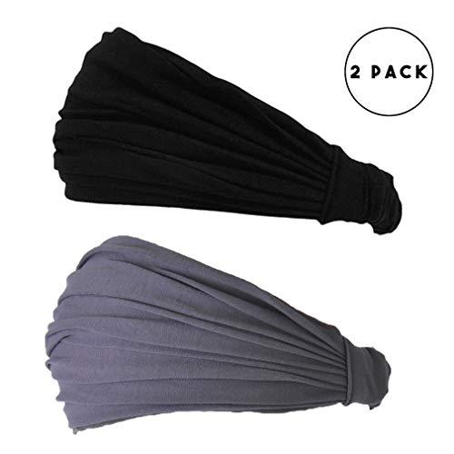 CHARM Black & Dark Gray Japanese Bandana - 2-Pack Headbands for Men and Women Snug Fit by CCHARM (Image #1)