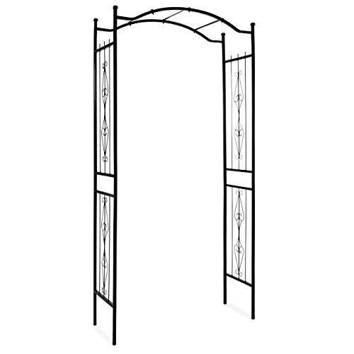 Best Choice Products Steel Garden Arch Arbor Decorative Climbing Plant Trellis (Black) (Trellis Rustic)