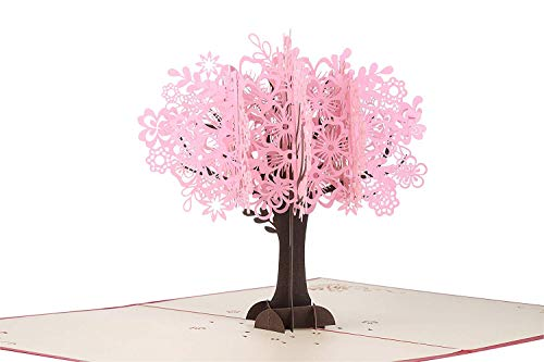 Wedding Day Blossoms - Mothers Day Card 3D Pop Up Greeting Cards Cherry Blossom Tree Design for Birthday Anniversary Wedding with Envelopes