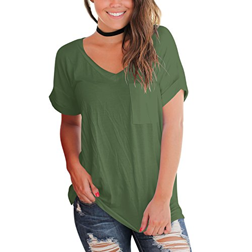YS.DAMAI Women's Summer Basic Tee Tops Casual Loose Short Sleeve T Shirt With Front Pocket(Armygreen,M)
