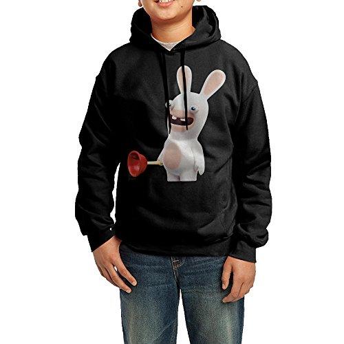 Rabbids Invasion Costume (GGDD Youth Cartoon Crazy Rabbit Mountaineering Casual Style Hoodie Hooded Sweatshirt Leisure Style L Black)