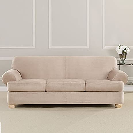 Ultimate Heavyweight Stretch Faux Suede 3 Separate T Cushioned Sofa  Slipcover