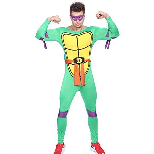 80s TV Show Teenage Mutant Ninja Turtles Costume TMNT Fancy Dress w/ Mask