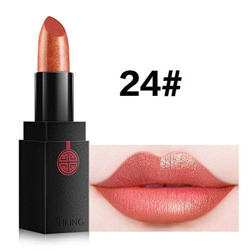 Moisturizing Waterproof Metallic Lipstick Glitter - MEIKING Long Lasting Nude Orange Lip Stick Makeup Cosmetics Shimmer 14 Shades for choice 0.13 oz (#24)