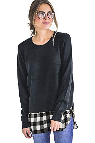 Patchwork 1 mujer en Aibayleef de Comprobada redondo cl Blusa Camiseta larga 2 Pullover manga de Camisa de cuello UUZYqR