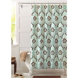 Amazon Seafoam Green And Brown Newcastle Fabric Shower Curtain