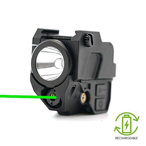 IRON JIA'S Tactical Combo Green Laser Sight,220 lumens LED Flashlight, 2-in-1,Built-in Rechargeable Battery, Handgun Pistol Accessories,20mm Picatinny Rails (Green-1)