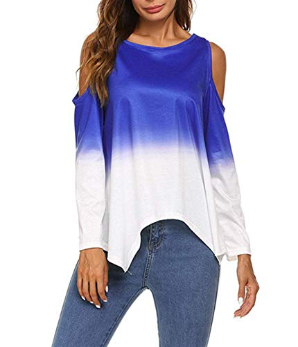 Epaule Chemisiers T Mode Automne Jumpers Irrgulier Tee Femmes Longues Pente Shirt Chemises Printemps Manches Nu Blouse Hauts Casual Rond et Violet Tops Col Fwvqx6nf4