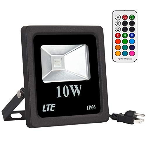 LTE RGB Flood Lights 10W LED RGB Lights, Security Light Color Changing with Remote Control,16 Colors & 4 Modes Dimmable Lights for Party Stage Lighting,Garden Lights,IP66 Waterproof ()