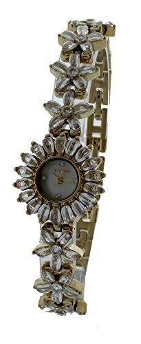 Elgin Crystal Watch (Elgin Women's Crystal Accent Gold-Tone Flower Watch EG721)
