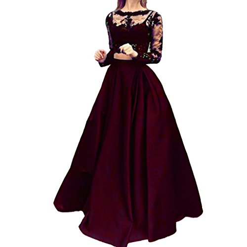 Cuteshe 2 Pièces Manches Longues Robes De Soirée Bal Bordeaux Femmes