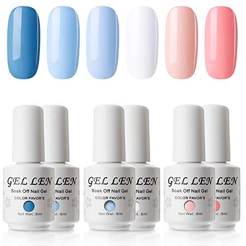 Gellen Soak Off UV Gel Polish Set Blue Peach Colors, 8ml each Nail Gel Manicure Kit
