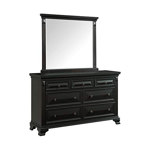 - Abbey Avenue B-HAM-DRMRB Hampton 7-Drawer Dresser with Mirror Set, Black