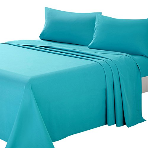 ARTALL Soft Microfiber Bed Sheet Set 4-Piece with Deep Pocket Bedding - Queen, Teal (Sheet Teal)